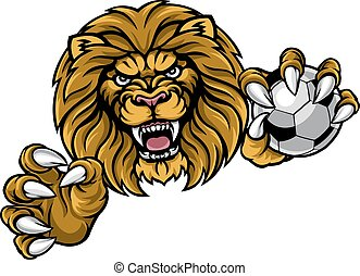 Lion Soccer Ball Sports Mascot - A lion angry animal sports...