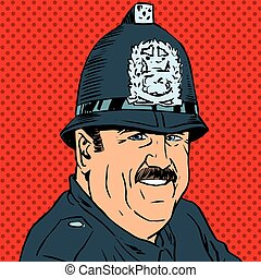 avatar portrait of a British police officer. Pop art retro...