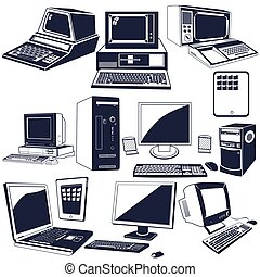 computer icons - Vector illustration of different computer...