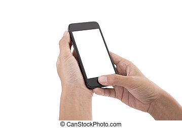 hand holding smart phone with  screen isolated on white background.