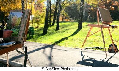 painting autumn landscape