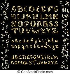 Set of hand drawn glitter golden alphabet in calligraphy brush