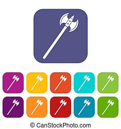 Poleaxe icons set flat - Poleaxe icons set illustration in...
