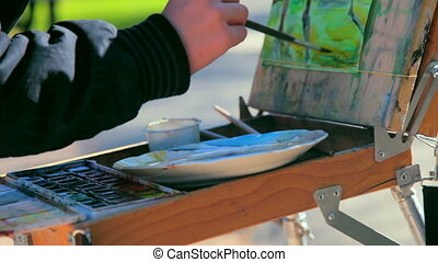 Artists Hands with Brushes - Artists hands with brushes...