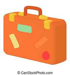Brown suitcase icon, cartoon style - Brown suitcase icon....
