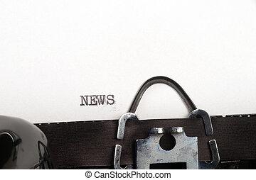 notícia, texto, Máquina escrever