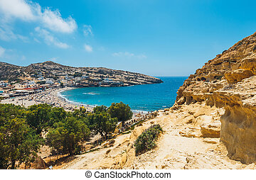 Matala beach. Caves on the rocks were used as a roman...