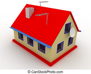 3d isolated house . 3d rendered illustration