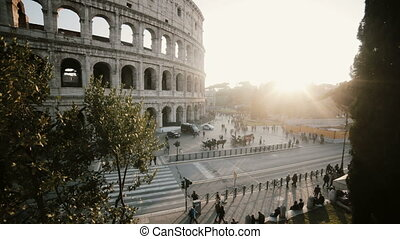 Beautiful panoramic view of the Colosseum in Rome, Italy....