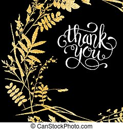 Glitter golden leaves card with thank you hand lettering