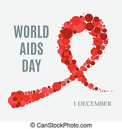 World AIDS Day poster - World AIDS Day awareness poster. Red...