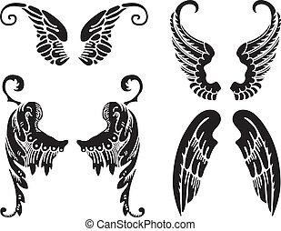 Angel Wings - Four Sets of Black Angel Wings