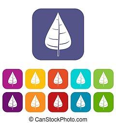 Poplar leaf icons set flat - Poplar leaf icons set...