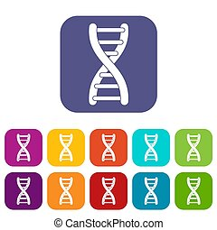 DNA strand icons set flat