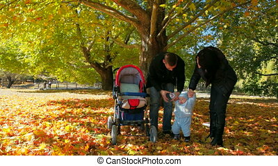 young family with their baby in autumn park