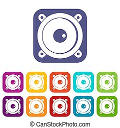 Audio speaker icons set flat - Audio speaker icons set...