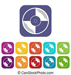 Vinyl record icons set flat - Vinyl record icons set...