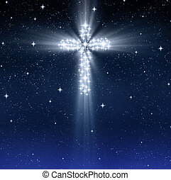 glowing religious cross in stars - glowing christian cross...