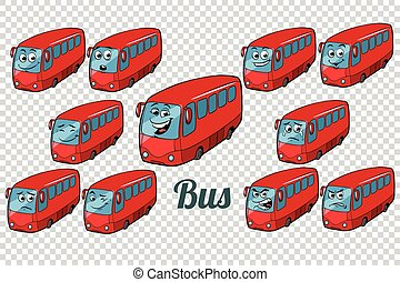bus autobus collection set neutral background. Comic book...