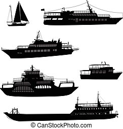 ships and boats silhouettes