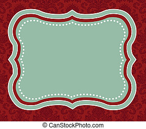 Vector Red Holiday Themed Frame - Detailed Christmas or...