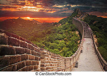 great Chinese wall in the mountains near Beijing