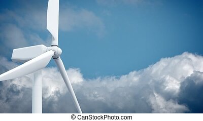 Beautiful white windmill on blue sky background. 3d...