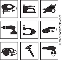 Tools mechanic icons set, black silhouette. Element logo tools, isolated on a white background. Vector illustration.