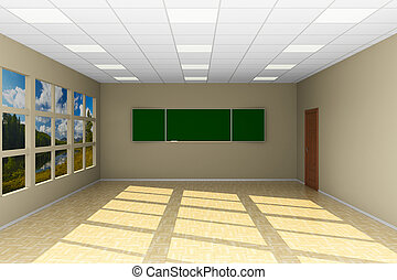 Empty classroom with blackboard. 3D illustration
