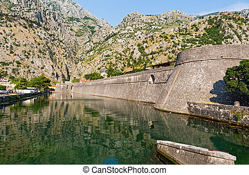 Montenegro, Kotor, old fortress on the river