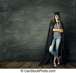 Student Woman over Blackboard Background, School Girl in Mortarboard Graduation Hat, Education