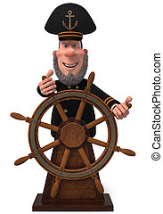 3d illustration sea captain with the wheel
