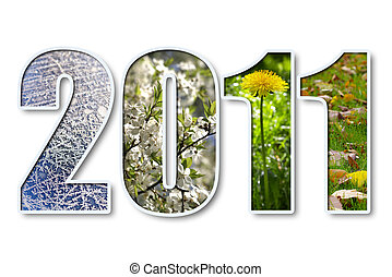 2011 new year - 2011 digits title with seasons background...