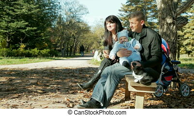 family with baby and cat - happy family with a toddler and a...