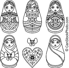 Matryoshka. Babushka doll. Set - Matryoshka. Russian folk...