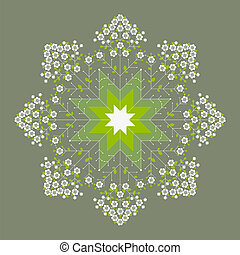 Green flower spring mandala