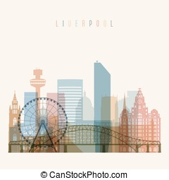 Liverpool skyline detailed silhouette.
