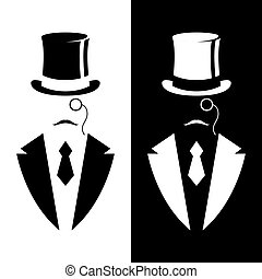 Gentleman in tuxedo and vintage hat. Black and white design....