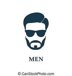 Men in sunglasses. Style haircut and beard. Vector icon.