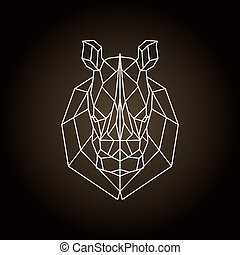 Rhinoceros head geometric lines silhouette. Icon isolated on...