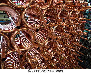 Heat exchangers obtained by wrapping copper tube. - Heat...