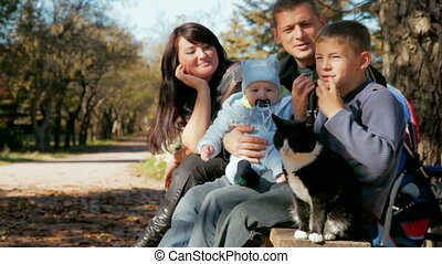 Young Family and cat