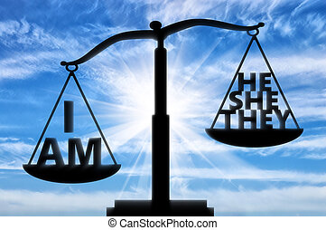 Selfish and egoist concept. Words on the scales of justice...