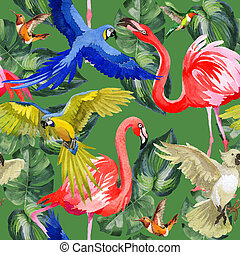 Sky bird parrot pattern in a wildlife by watercolor style....