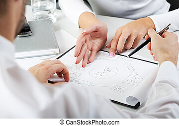 Consultation - Close-up of team working with documents at...