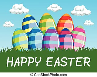 Happy Easter background decorated eggs meadow