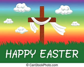 Happy Easter background with christian cross in the wind