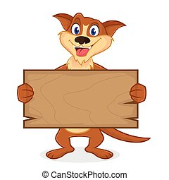 Weasel cartoon mascot holding wooden plank isolated in white...