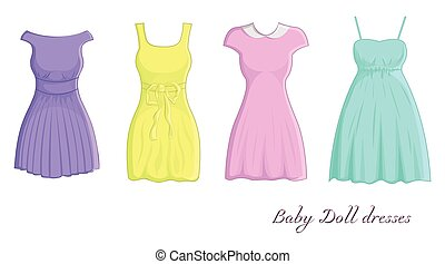 Baby doll dresses - A set of four different dresses in Baby...