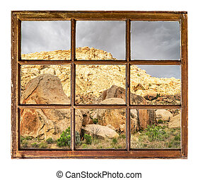 desert rocks and cliffs - window view